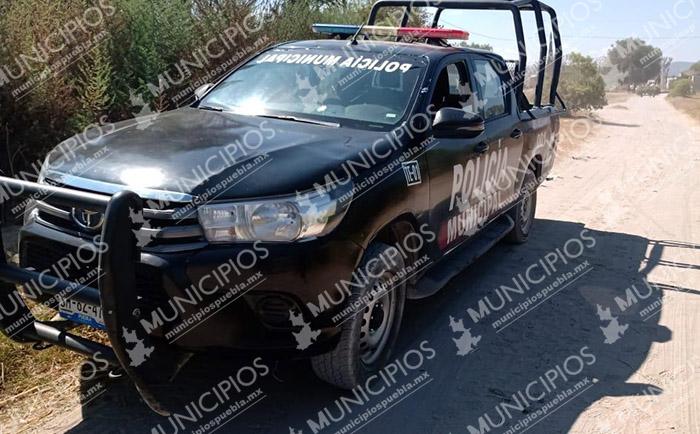 Sujetos rafaguean a policías municipales de Tecamachalco