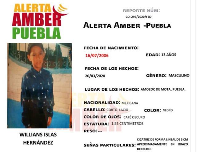 Willians Islas, de 13 años, desapareció en Amozoc; activan Alerta Amber