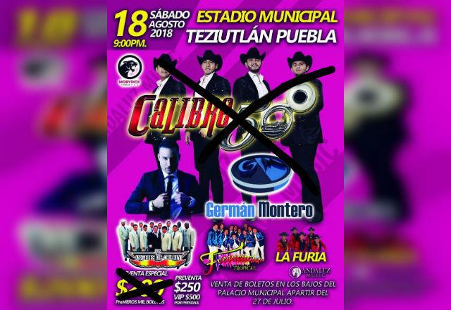 Por inseguridad, Calibre 50 cancela baile de feria en Teziutlán