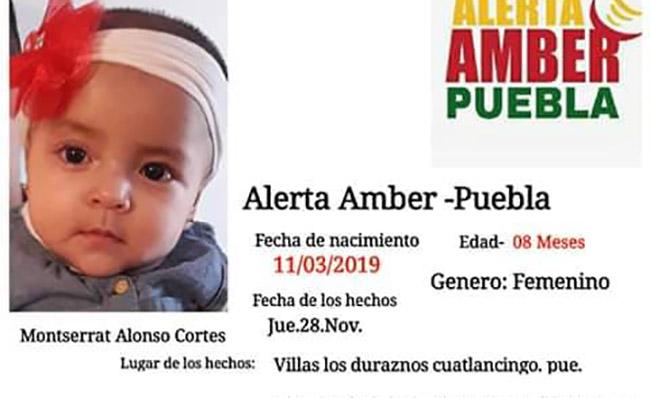 Roban a la bebé Monserrat en Cuautlancingo, activan Alerta Amber