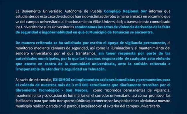 Responsabiliza comunidad BUAP a ayuntamiento por inseguridad en Tehuacán