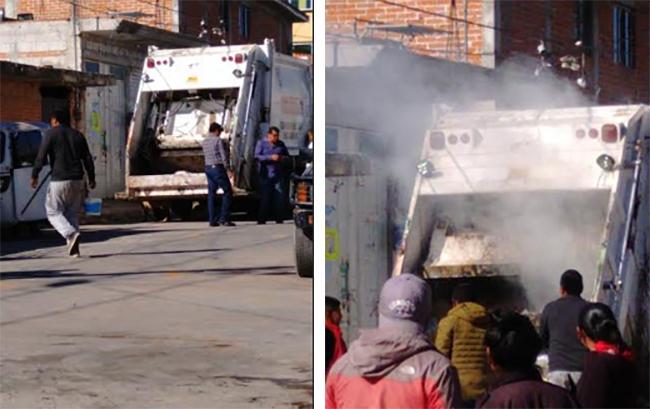 Camión de basura explota y vecinos apagan el fuego en Huejotzingo