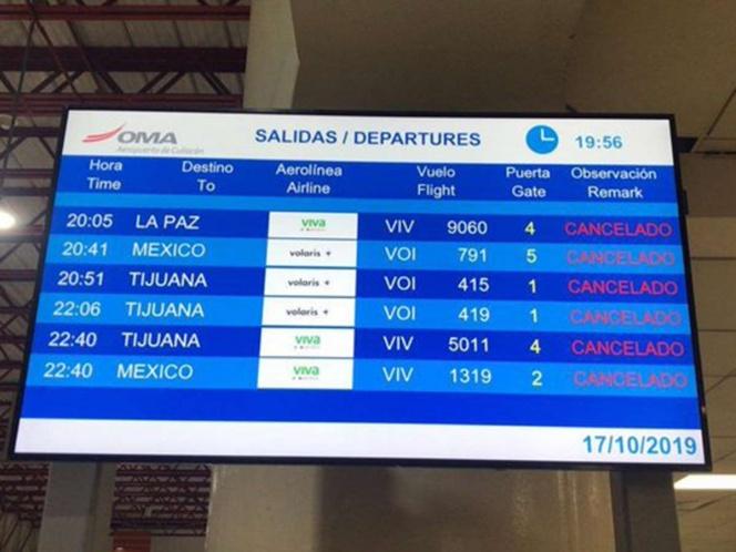 Cancelan vuelos a Culiacán tras balaceras