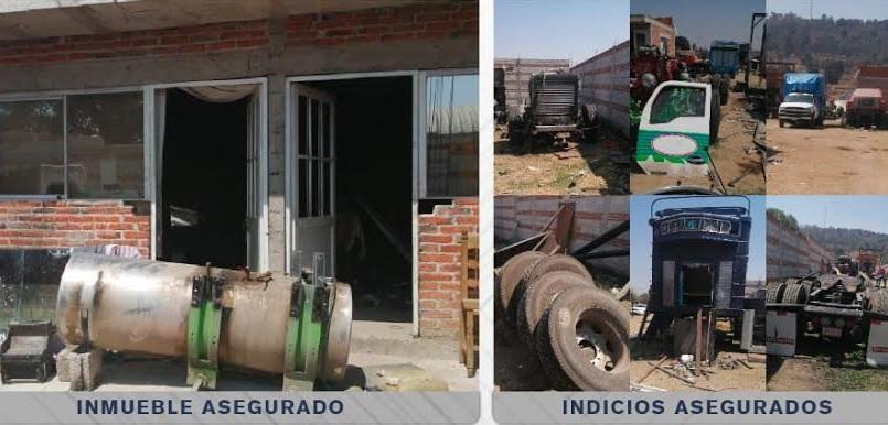 Fiscalía catea inmueble en San Pedro Cholula y decomisa 4 vehículos