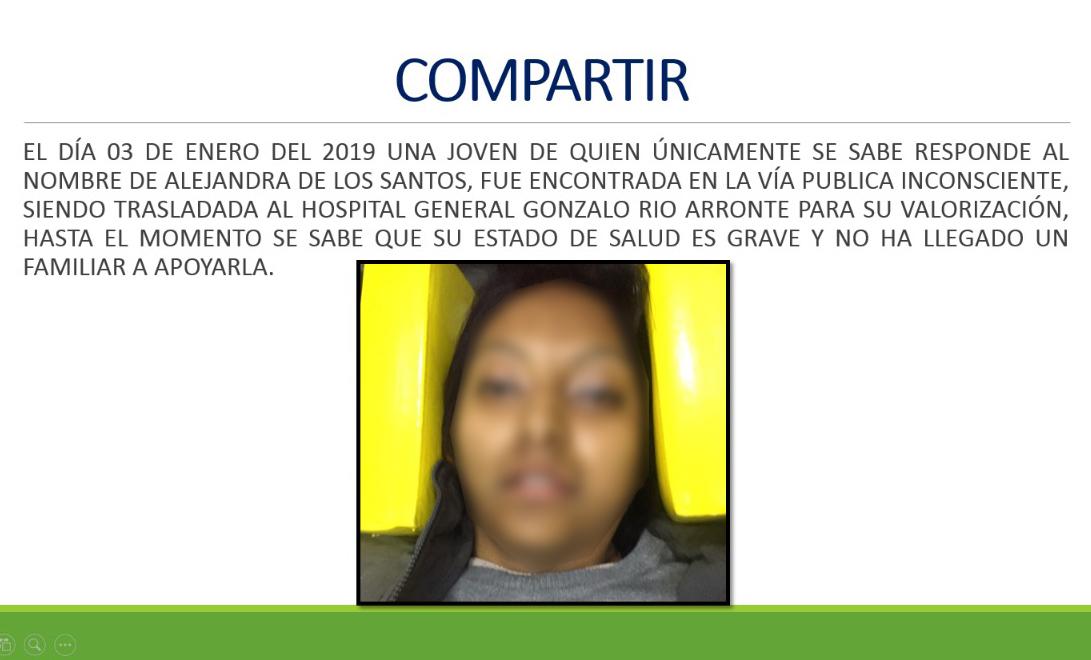 Fallece Alejandra, tras severa lesión en el cráneo