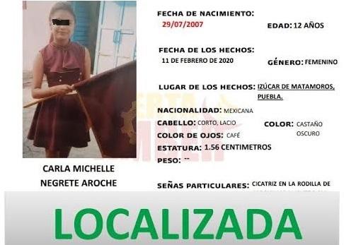 Menor desaparecida en Puebla estaba en Guerrero
