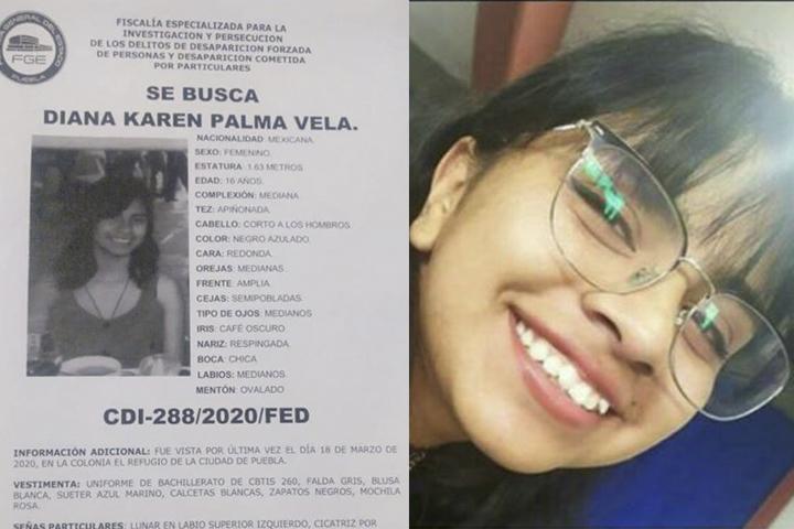 Diana despareció en la ciudad de Puebla, tiene 16 años
