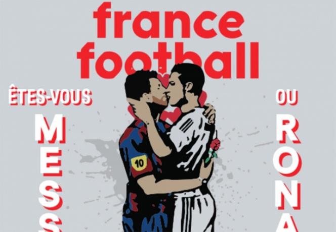 Publica revista imagen de Messi y Ronaldo besándose