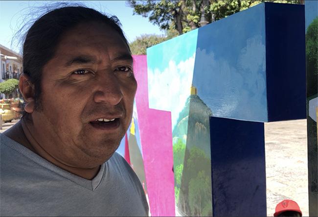 Pinta muralista letras turísticas en Atlixco