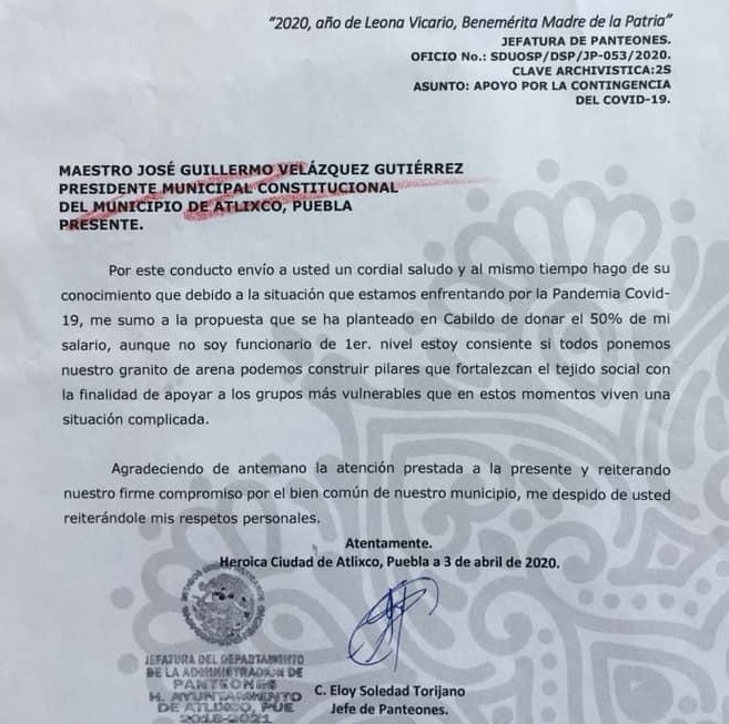 Jefe de panteones en Atlixco dona 50 por ciento de salario por Covid-19