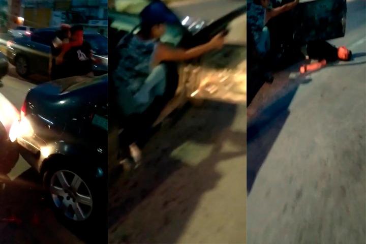 VIDEO Lo golpean y le pasan el auto encima en la federal a Amozoc
