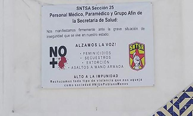 Trabajadores del Hospital de Huejotzingo piden protección ante el Covid-19