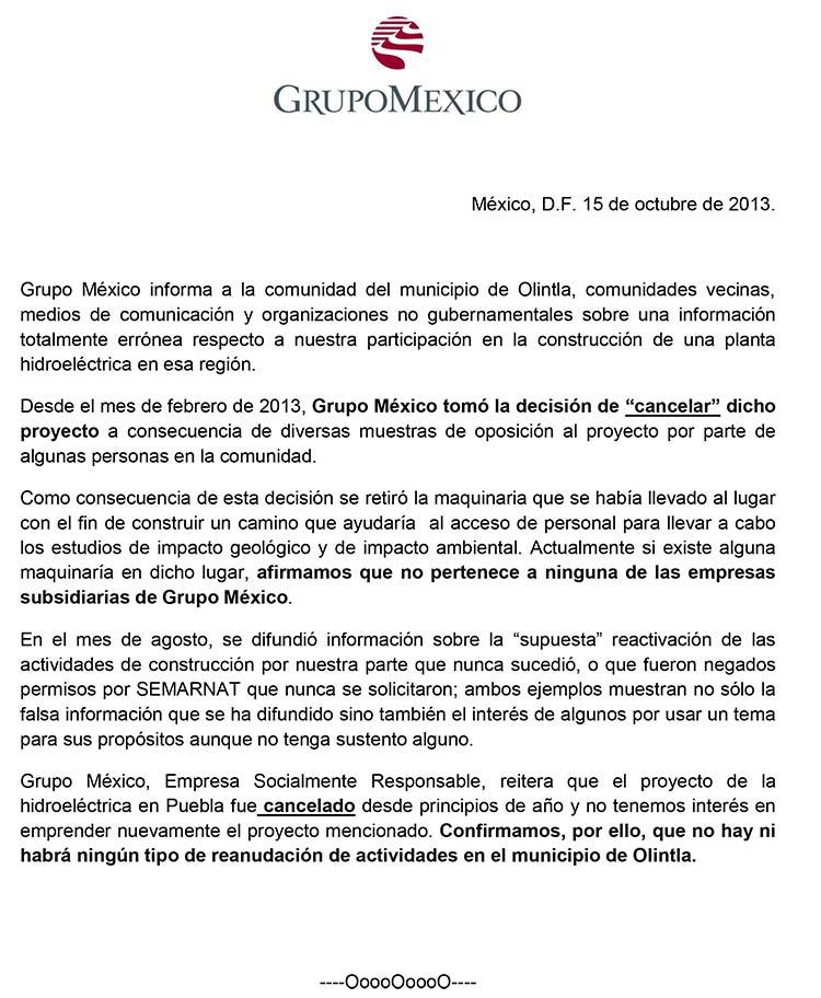 El proyecto de la hidroeléctrica en Olintla ya fue cancelado: Grupo ...