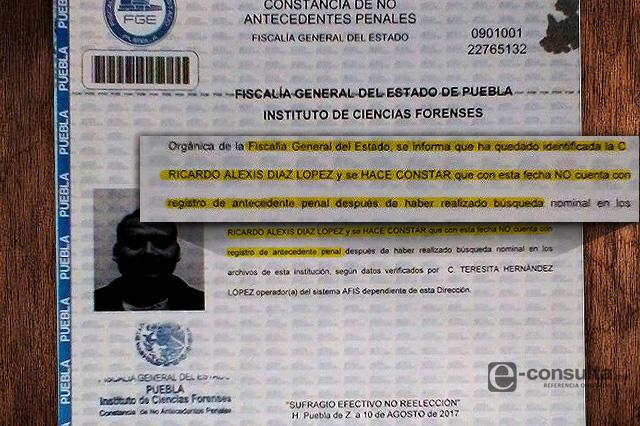certificado de antecedentes no penales puebla
