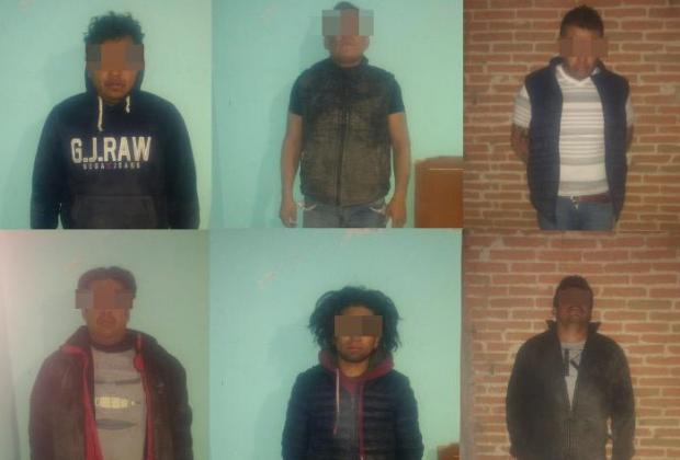 Detienen a seis presuntos huachigaseros en Texmelucan