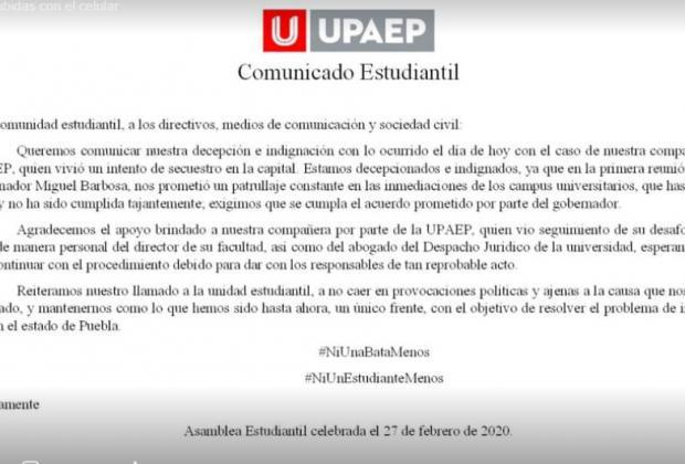 Pese a marchas intentan secuestrar a estudiante de la UPAEP en Puebla capital