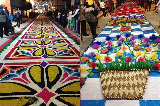 Con alfombras de aserr n acatzingo celebra a virgen de for Origen de alfombra