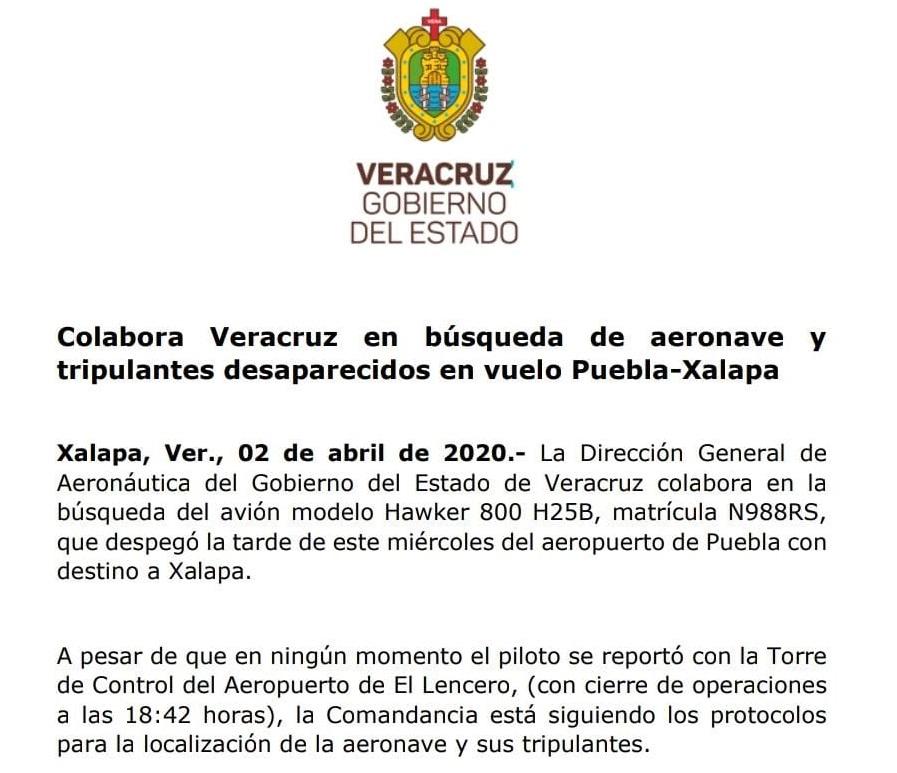 Colabora Veracruz en búsqueda de aeronave que despegó de Puebla