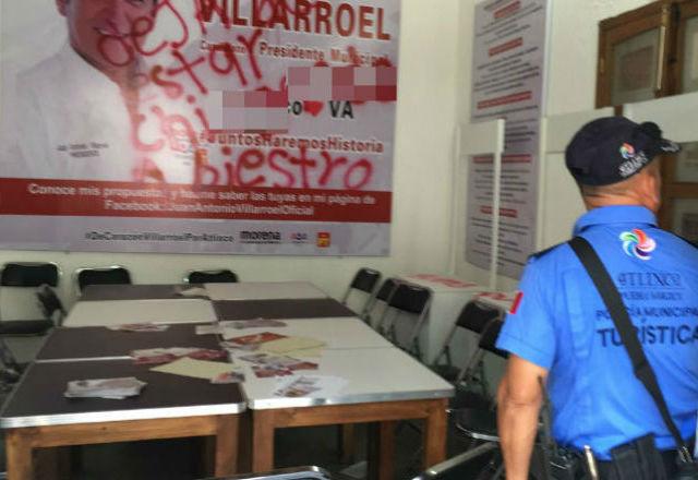 Vandalizan oficinas de campaña de Villarroel, en Atlixco