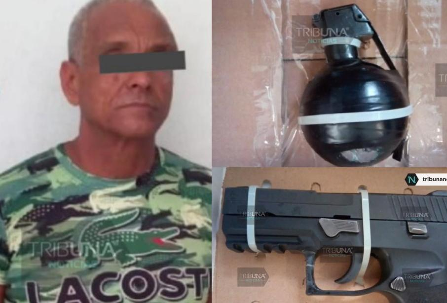 Con granada y armas, detienen a veracruzano en Texmelucan