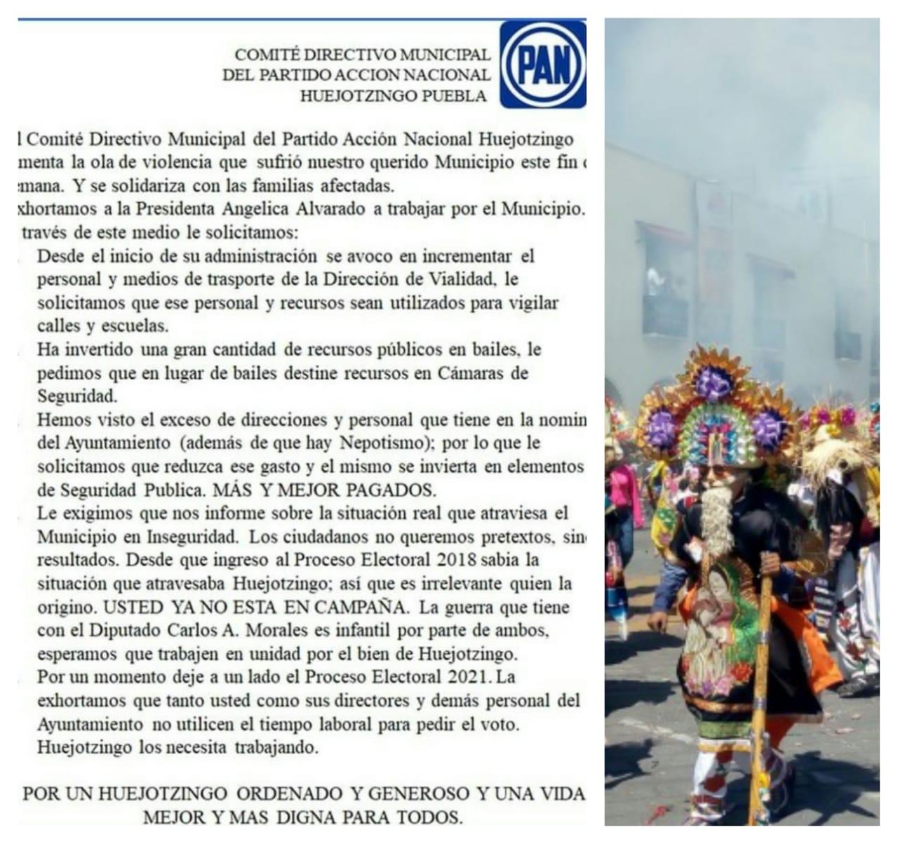 Más seguridad menos bailes, exige PAN en Huejotzingo