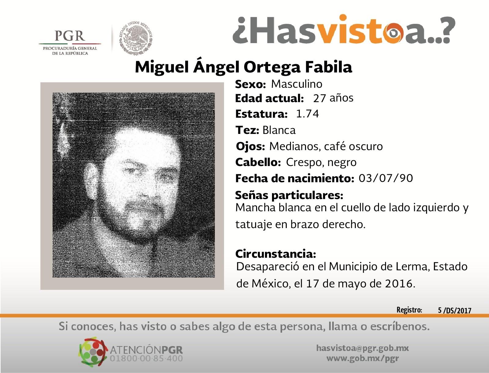 Ayúdanos a localizar a Miguel Ángel Ortega