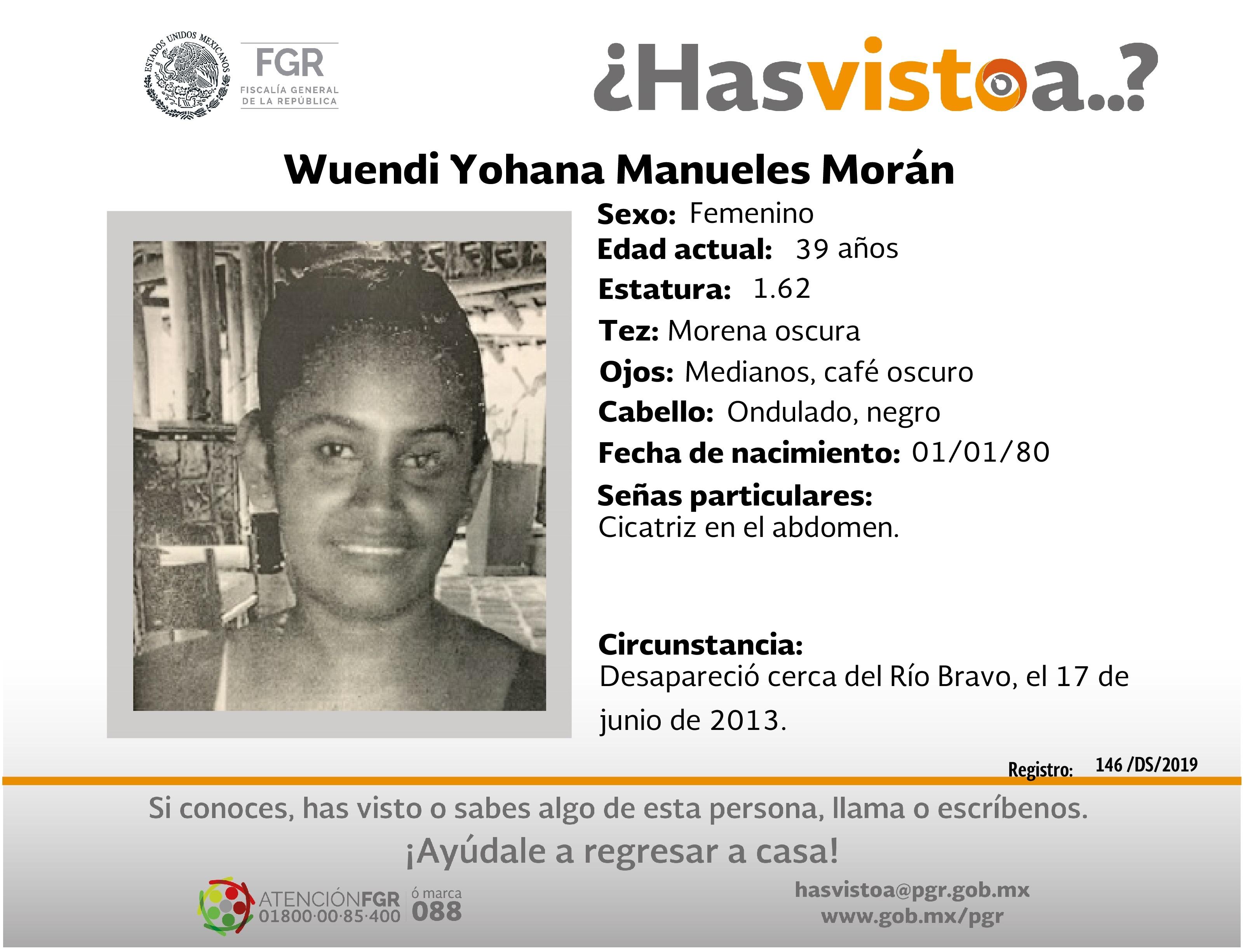 Ayúdanos a localizar a Wuendi Yohana Manueles