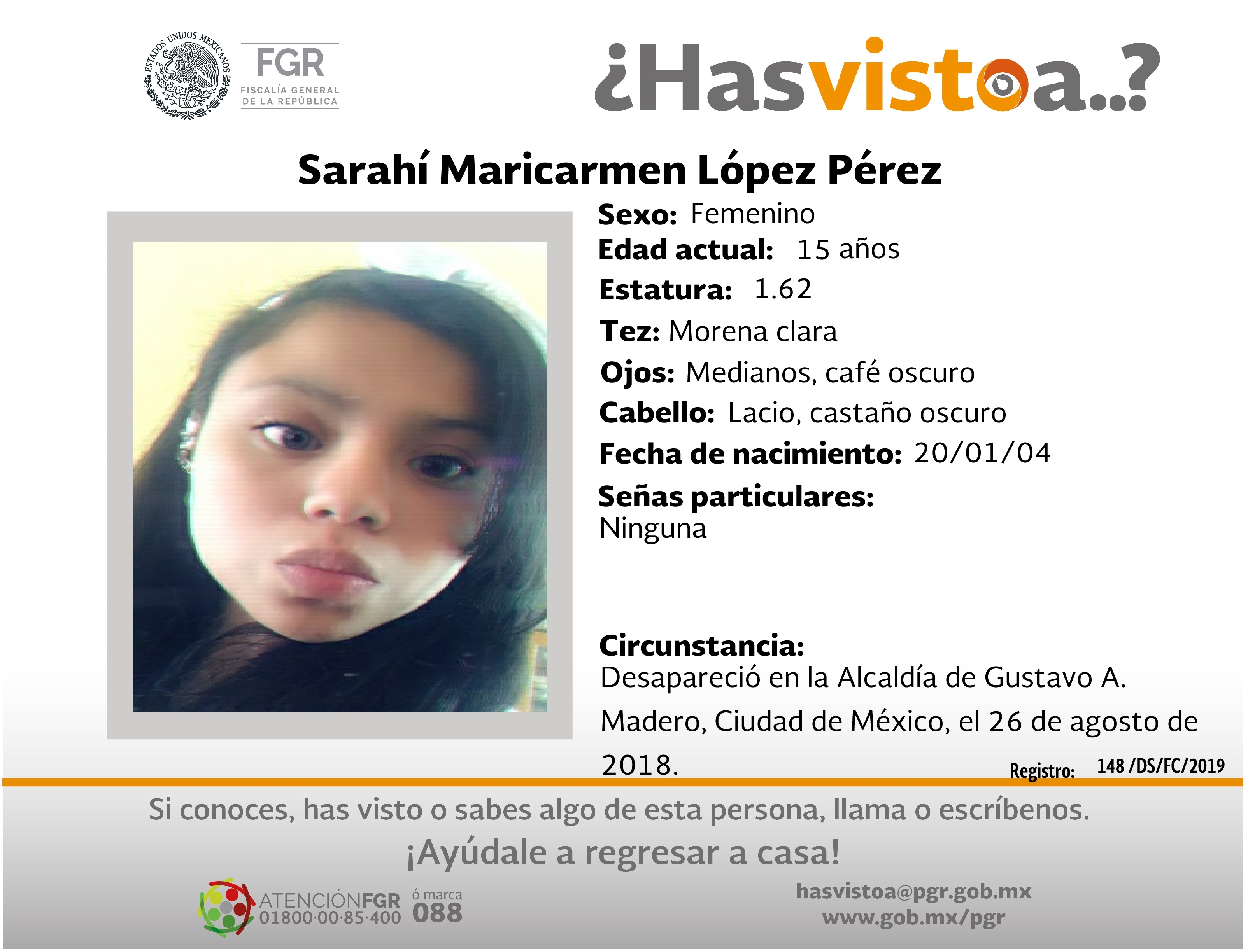 Ayúdanos a localizar a Sarahí Maricarmen López