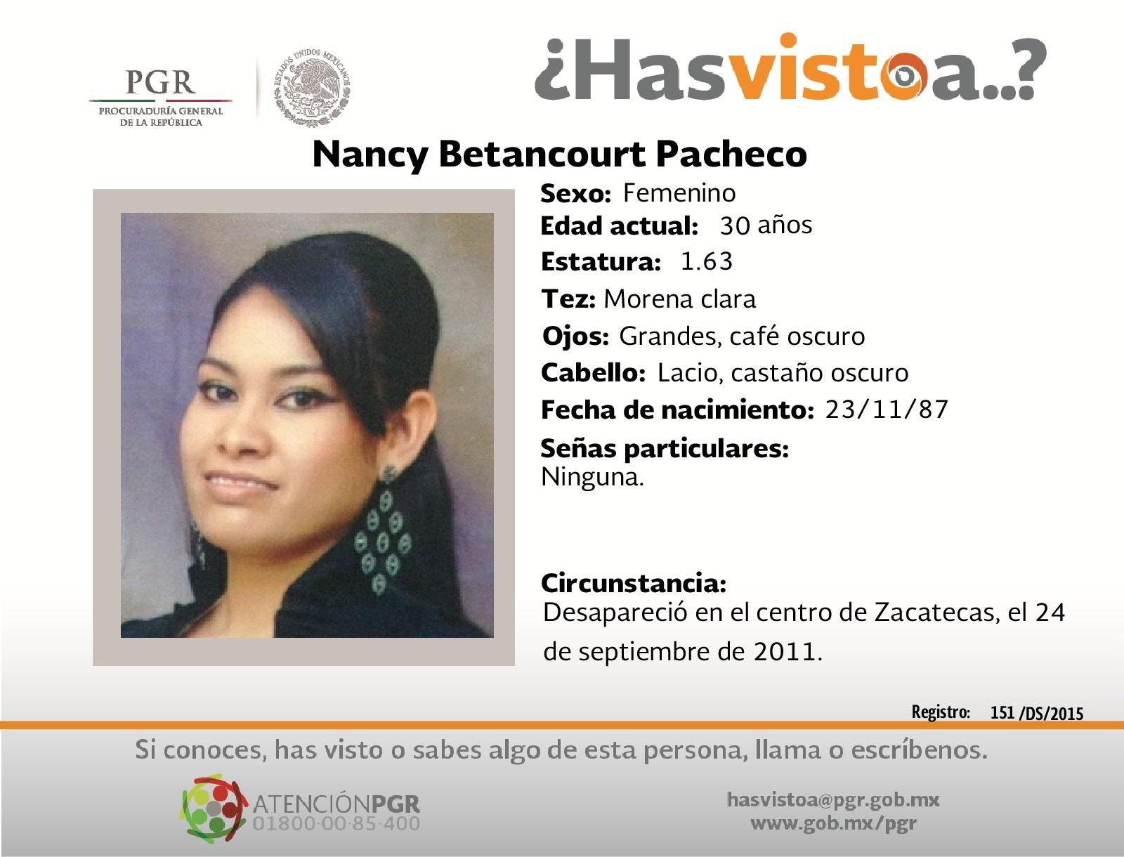 Ayúdanos a localizar a Nancy Betancourt