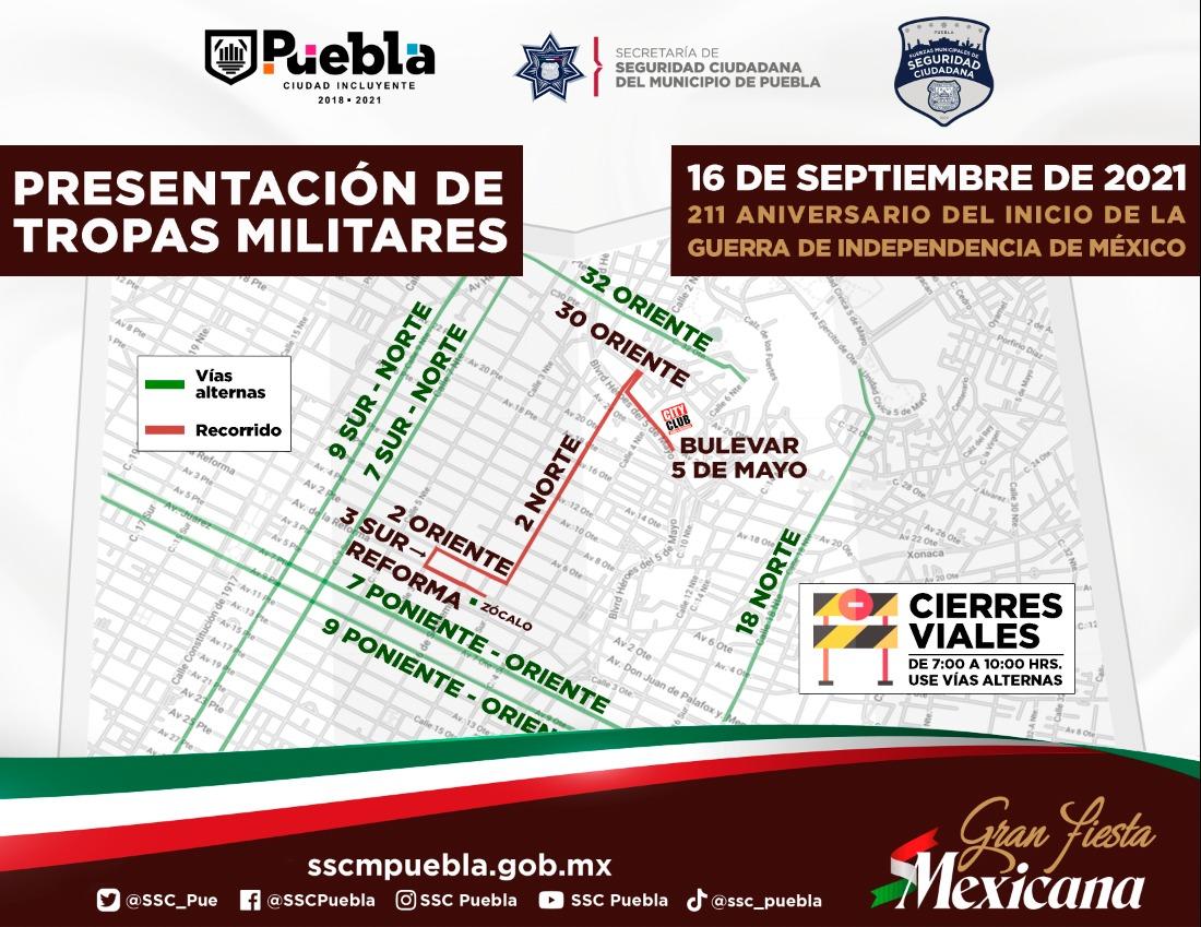 Así serán los cierres para el 16 de septiembre en la capital poblana