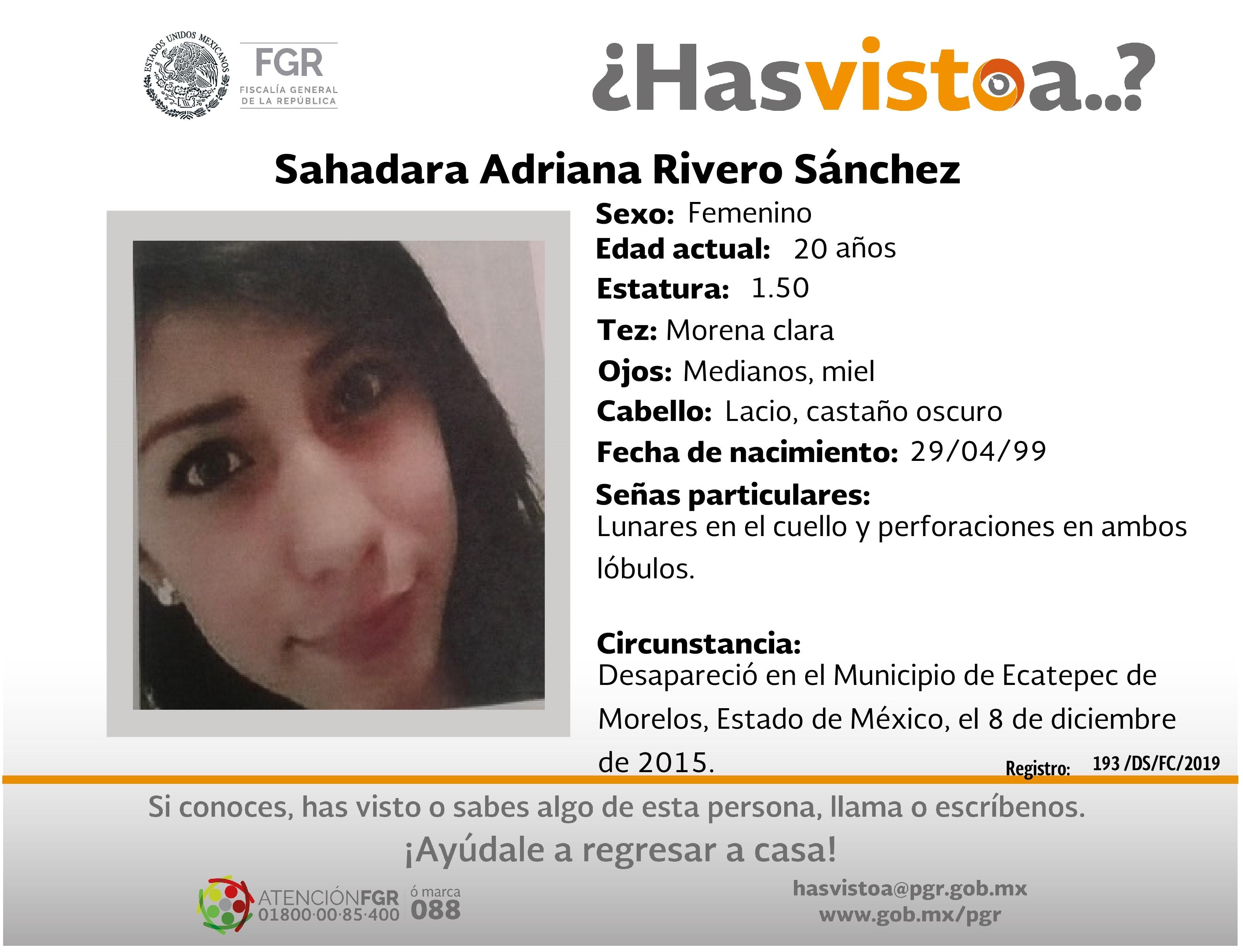 Ayúdanos a localizar a Sahadara Adriana Rivero