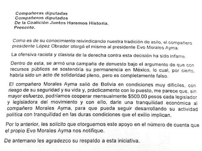 Cooperan diputados 500 pesos para dárselo a Evo Morales