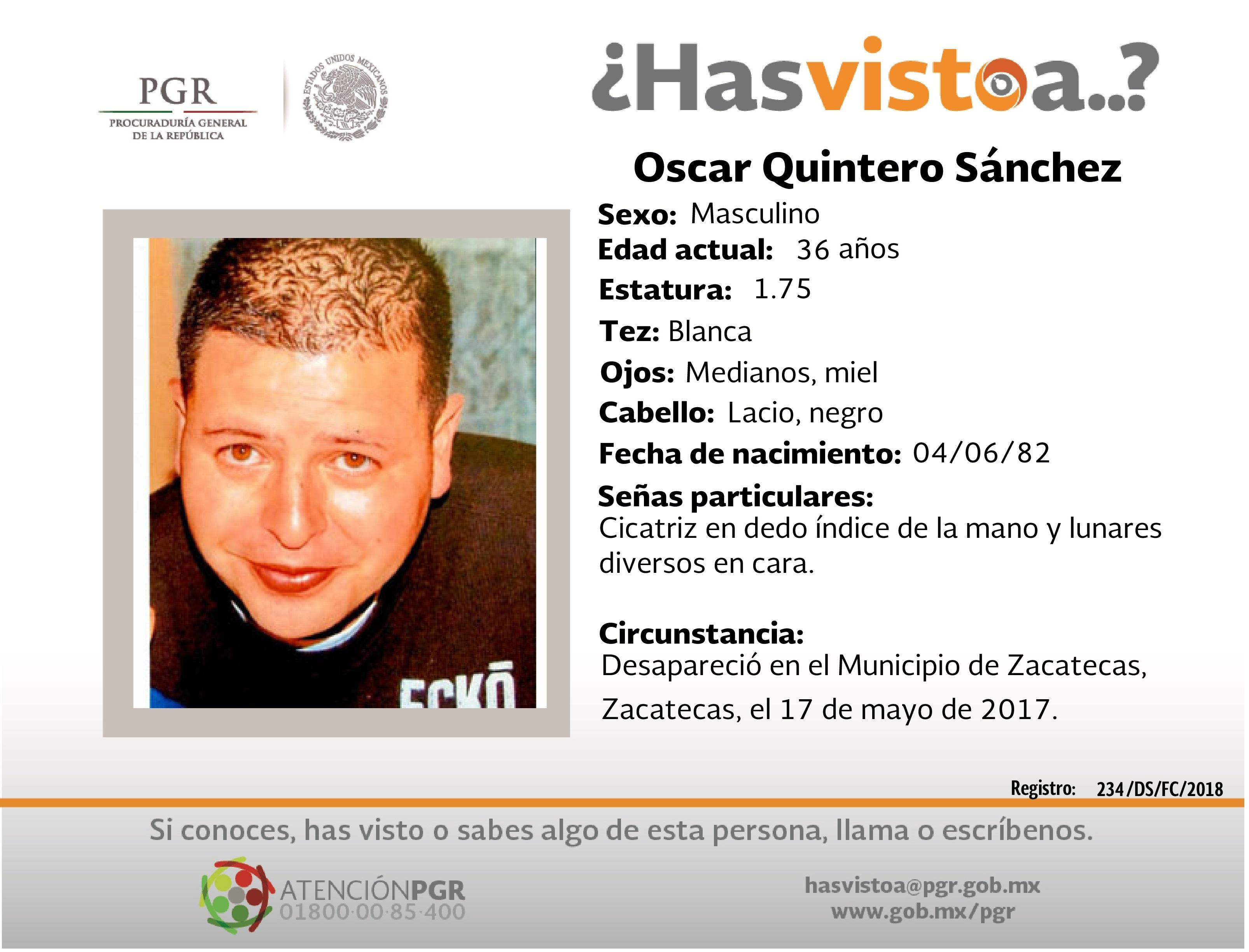 Ayúdanos a localizar a Oscar Quintero Sánchez