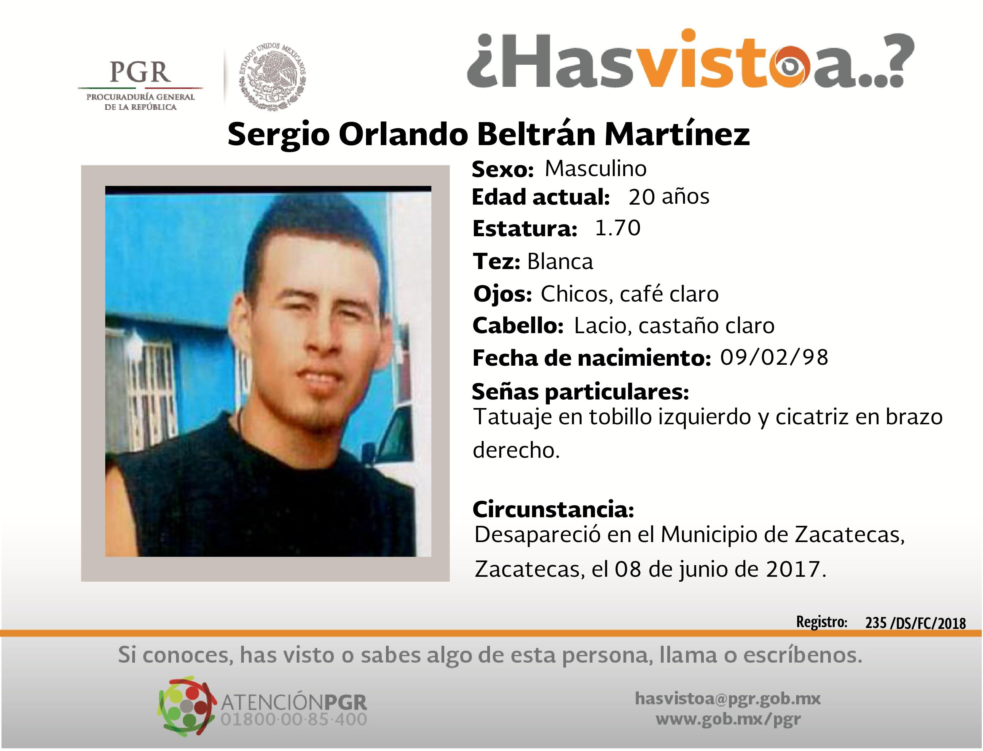 Ayúdanos a localizar a Sergio Orlando Beltrán