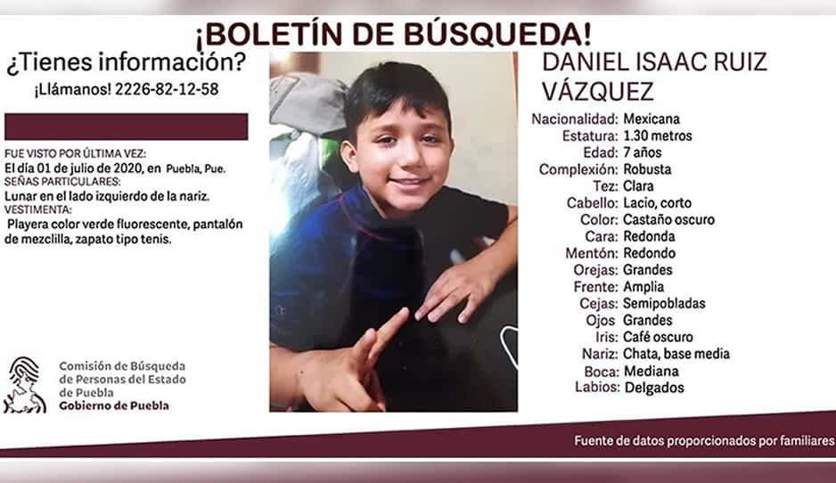 Ayuda a localizar al niño Daniel, desaparece en Puebla