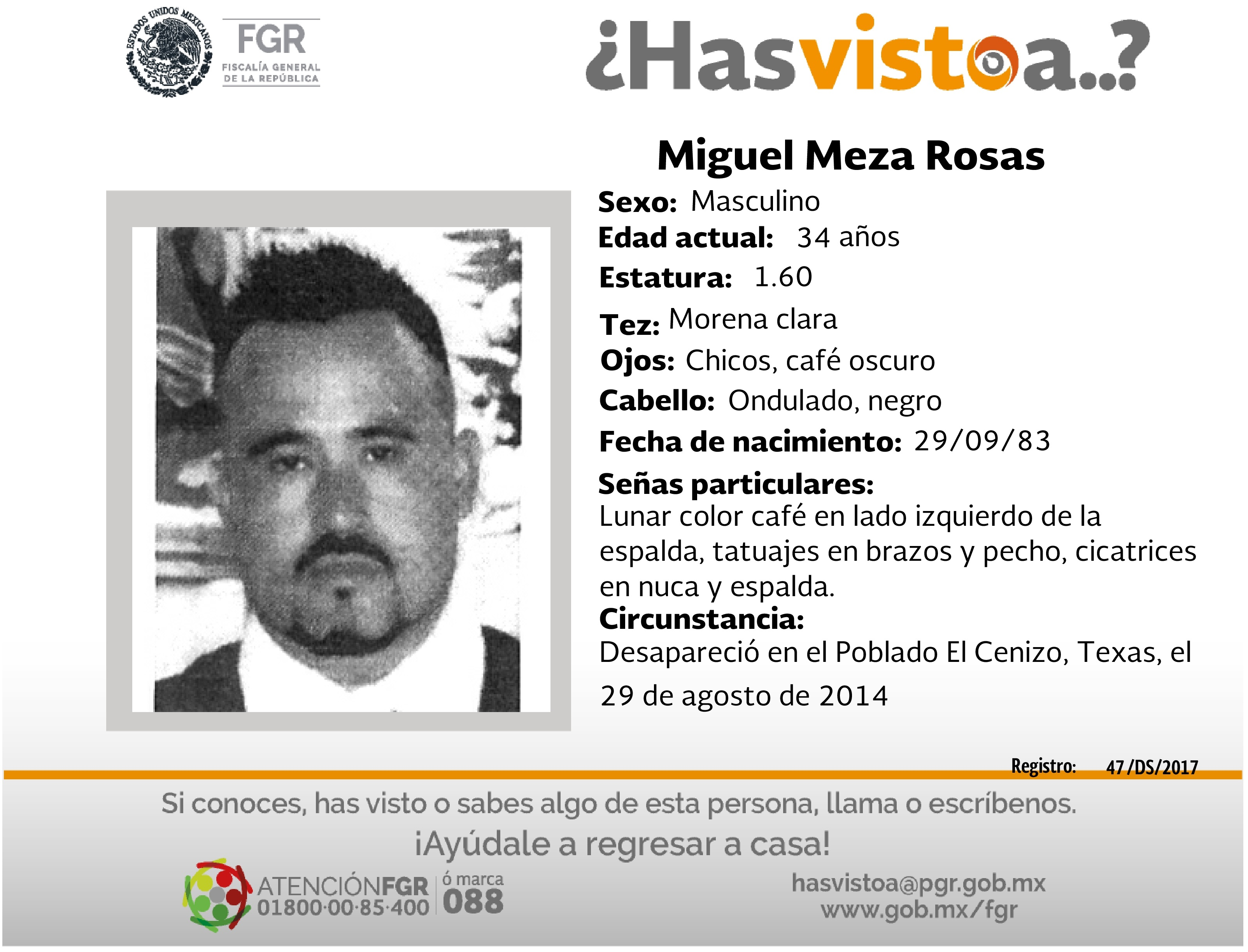 Ayúdanos a localizar a Miguel Meza Rosas