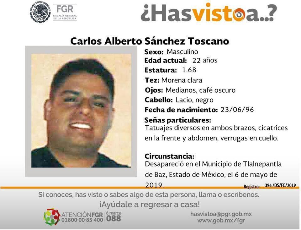 Ayúdanos a localizar a Carlos Alberto Sánchez