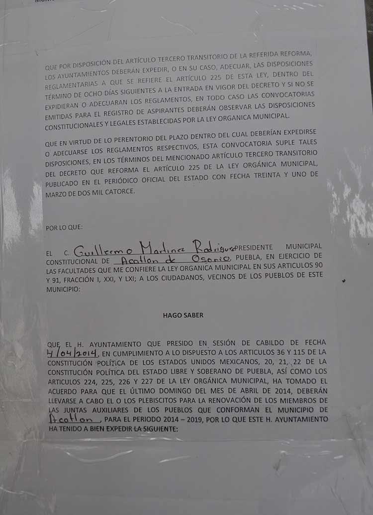 Se encienden focos rojos en juntas auxiliares de Acatlán