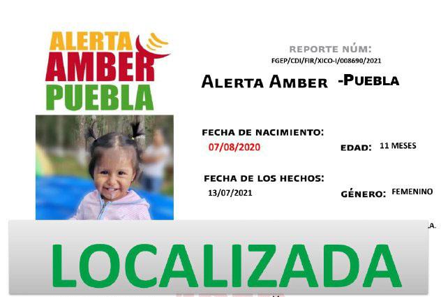 Fiscalía de Puebla desactiva Alerta Amber de Regina de 11 meses de edad