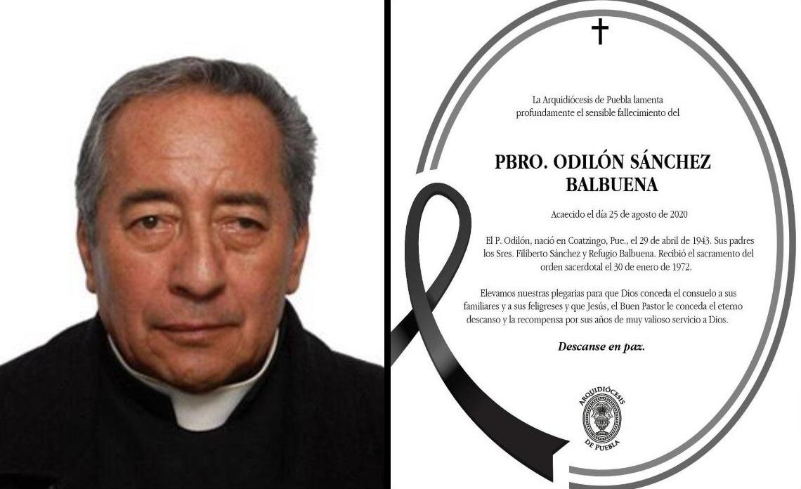 Fallece sacerdote Odilón Sánchez Balbuena en Puebla
