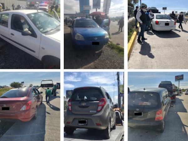 Asegura SMT 11 taxis piratas sobre la Vía Atlixcáyotl en Puebla