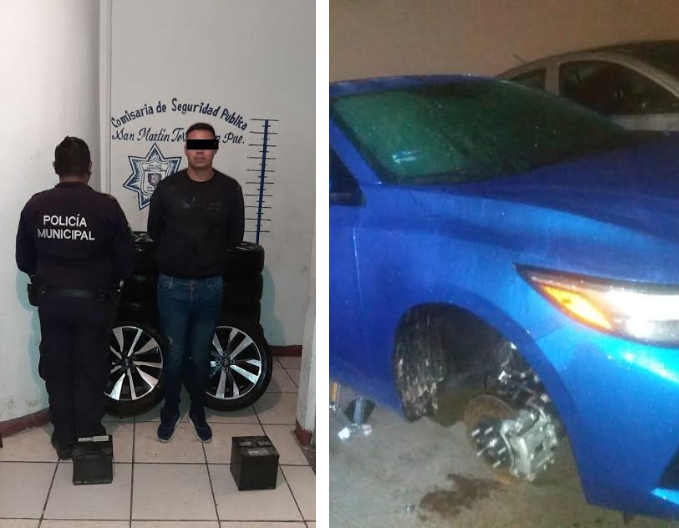 Cae sujeto que desvalijaba vehículos dentro de agencia de autos en Texmelucan
