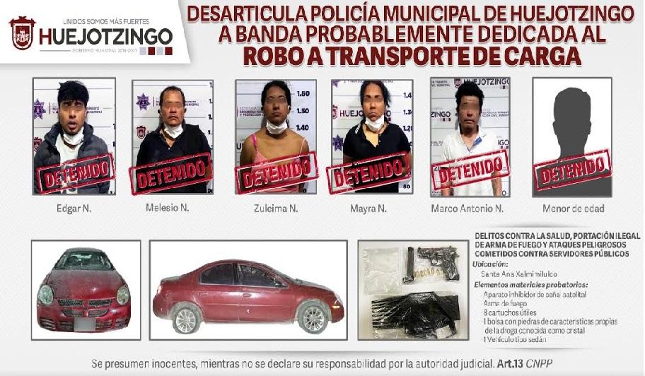 Desarticulan banda en Huejotzingo dedicada al robo a transporte de carga