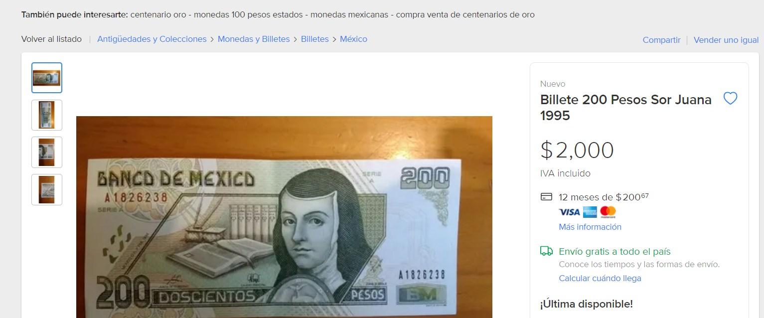 Podrías vender tu billete de 200 con Sor Juana en dos mil pesos