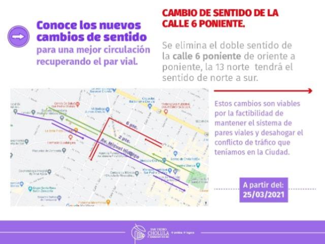 Anuncian cambios viales en San Pedro Cholula
