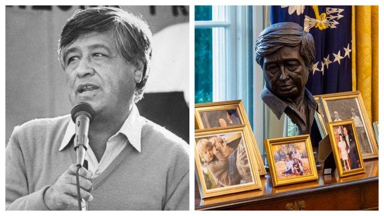 Coloca Biden busto de líder campesino de origen mexicano en la Casa Blanca