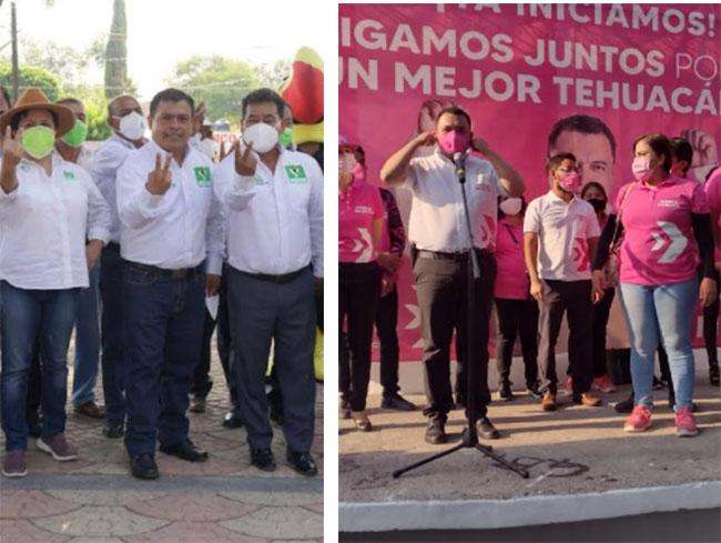 Inician campaña candidatos a la alcaldía del PRI, Morena, PVEM y Fuerza por México en Tehuacán