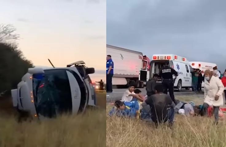 Vuelca autobús con integrantes de FRENAA, hay dos muertos
