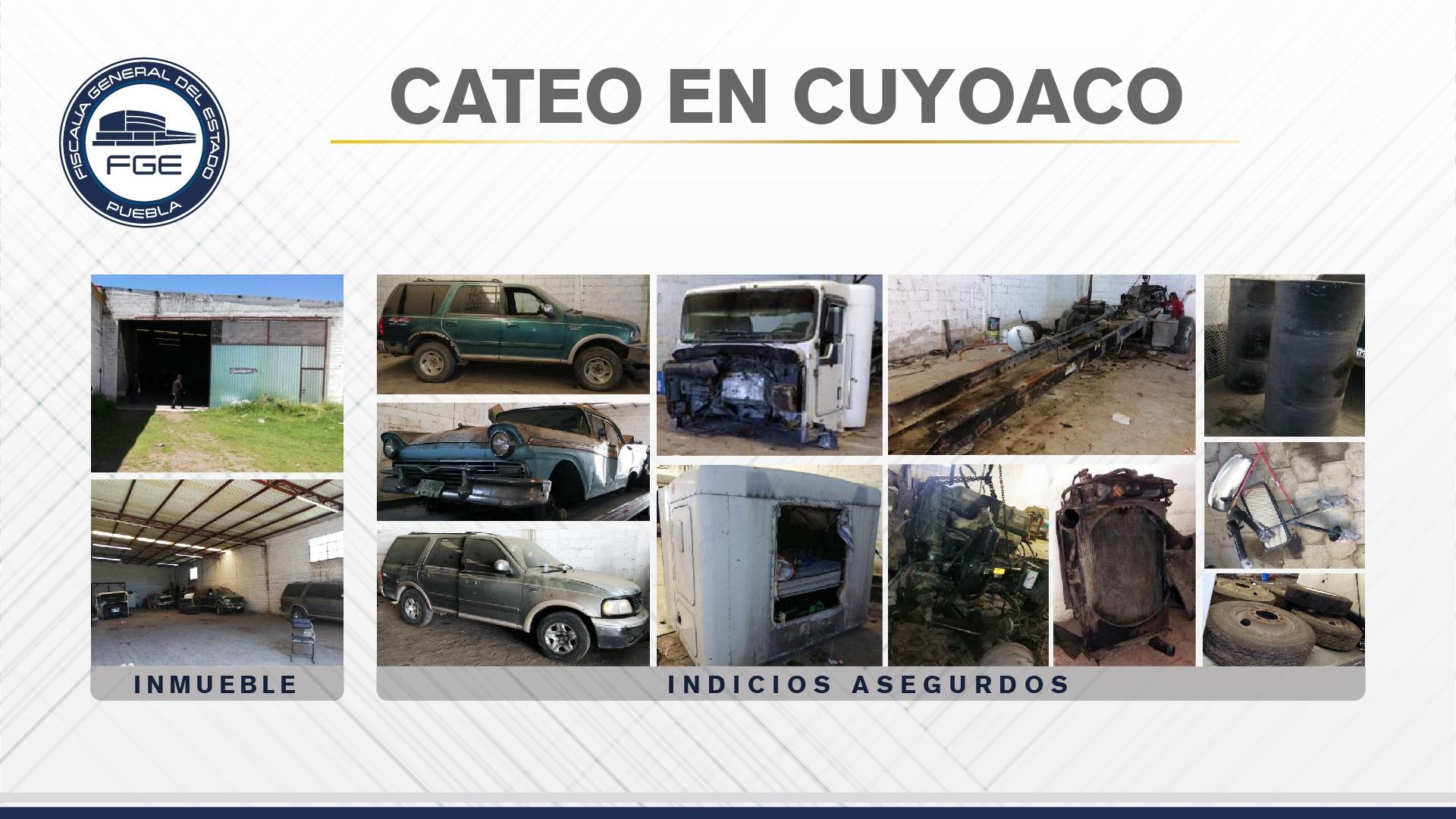 Catean domicilio en Cuyoaco y hallan vehículos y autopartes robadas