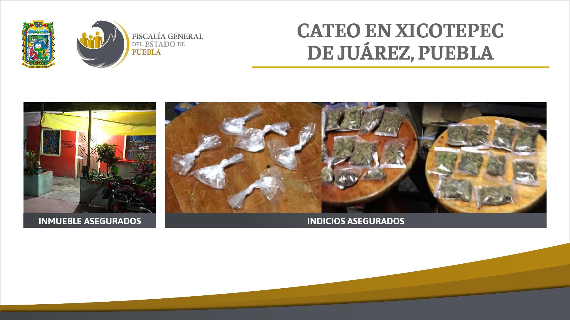 FGE cateó inmueble en Xicotepec y aseguró marihuana y cristal
